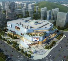Mall Facade, Retail Facade, Commercial Complex, Commercial Street, Mall Design, Tower Design, Futuristic Architecture, Facade Architecture, Shopping Center