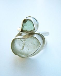 Teal and White Bezel Set Sea Glass Sterling Silver Ring on Etsy, $110.00