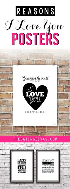 """Printable """"Reasons I Love You"""" Posters for an Easy, Romantic Gift Idea"""