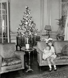 "Nevine and Nemai: December 26, 1924. Washington, D.C. ""Nevine and Nemai Yousry."" Children of the Egyptian ambassador and their Christmas tree. Click to view full size.:"
