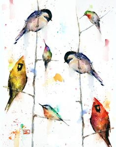 'BIRDS on BRANCHES' nature art print from an original watercolor painting by Dean Crouser. Available in a variety of products including signed and numbered limited edition prints, greeting cards, ceramic tiles and coasters and more. Prints are limited to edition size of 400.
