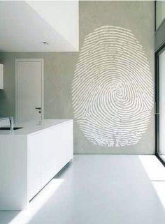 white floor + kitchen.. concrete wall