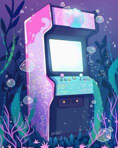 Art by Aly Jones — Mermaid Arcade 🐚 ✨ Retro Wallpaper, Aesthetic Pastel Wallpaper, Kawaii Wallpaper, Kawaii Drawings, Cute Drawings, Animes Wallpapers, Cute Wallpapers, Aesthetic Art, Aesthetic Anime