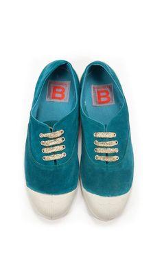 Tennis  suède bleu Bensimon