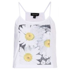 TOPSHOP Photo Flower Cami ($12) ❤ liked on Polyvore featuring tops, shirts, tank tops, tanks, crop top, white, white crop tank top, white tank, cotton camisole and crop shirts