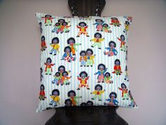 Golly cushion pillow cover inch by ItsSewInspirational, Cushion Pillow, Cushion Pads, Suede Fabric, Cotton Fabric, Handmade Cushions, Light Beige, Accent Pillows, Pillow Covers, Character Design