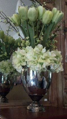 Beautiful green spring tulips and hydrangeas in an aged mercury vase Mercury Glass, Green Flowers, Hydrangeas, Home Accents, Decorative Accessories, Tulips, Floral Arrangements, Beautiful Flowers, Florals