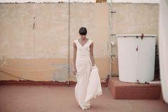 Laura, el día de su boda con vestido de Cortana.  Fotografia de bodas Las Palmas de Gran Canaria Canarias España