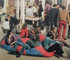 Party Men Women Loft Fashion Bellbottoms Beanbag Chair Interior VIntage Photo by Christian Montone, Modern Bean Bags, Bean Bag Design, 1960s Party, Cool Bean Bags, European Fashion, Bell Bottoms, Vintage Photos, Bean Bag Chair, Beans
