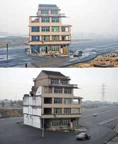 Luo Baogen and his wife refused to leave their home in Wenling, Zhejiang, China because they felt that the government's relocation compensation was not enough for them to rebuild a new home. So instead, they stayed put and made the government build a road around their 5-story home.