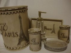 Merveilleux French Paris~eiffle Tower~6 Piece Bath Vanity Accessory Set~new