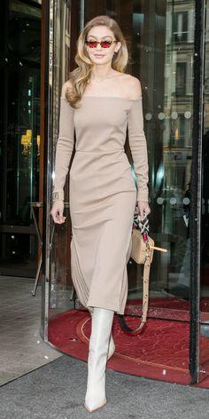 Gigi Hadid during #PFW. #StreetStyle #StyleInspiration