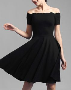 Check the details and price of this Black Off Shoulder Short Sleeve Skater Midi Dress (Black, BAOYAN) and buy it online. VIPme.com offers high-quality Day Dresses at affordable price.