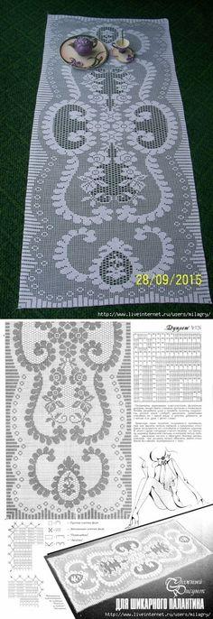 runner tablecloth crochet filet