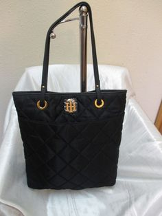 Tommy Hilfiger Bag Purse NS Tote 6918790 990 Black Gold Retail Price $68.00 #TommyHilfiger #Totes