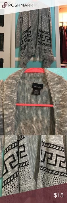 Grey Tribal Sharkbite Cardigan Worn once! Perfect condition! Rue 21 Sweaters Cardigans