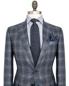 Isaia Blue Plaid Sportcoat 2 button jacket Pick stitch detailing Notch…