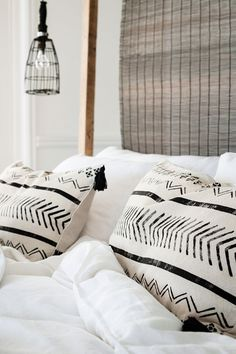 Interiors // stylish bed - modern - minimal - printed pillowcase - patterns - black and white