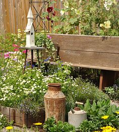 Add Character with Ornaments - A handful of inexpensive salvaged containers sit among the plants...