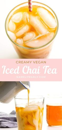 This Iced Chai Tea Latte will definitely change the way you think about Chai Tea! Made with tea, chai seasonings, and non-dairy creamy milk, it's a delicious and fun beverage. Perfect summer drink! #namelymarly #ChaiTeaLatte #ChaiTea #vegan