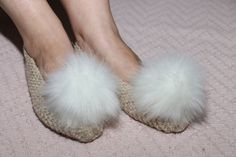 5+1 FREE, Bridesmaid Slippers, Knit Slippers, Cotton Slippers, Beige Slippers, Knit Shoes, Wedding Slippers, Bridesmaids Gift, Pom Pom by DandelionWoolDesign on Etsy