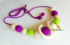 Nursing necklace Fuchsia Lime Teething necklace от MioLBoutique, $13.00