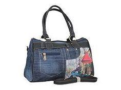 *PL* Borsa da donna a bauletto Montecarlo Principe 14339 jeans blu/nero AZ229
