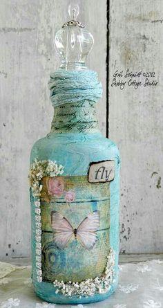 Wine bottle (papier-mâché, butterfly, decoupage, fabric)