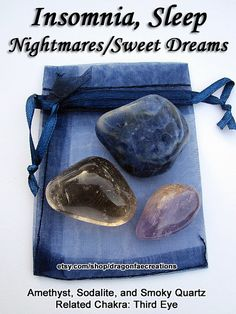 Insomnia, Sleep, Nightmares, Sweet Dreams Crystal Healing Set - Amethyst, Sodalite, and Smoky Quartz