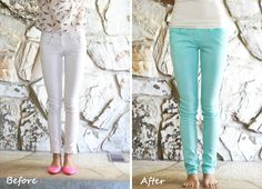 Life is Beautiful: DIY: perfect mint color jeans -really want some shorts and can dye them any color I want