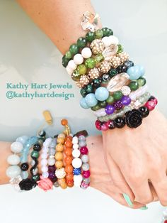 Kathy Hart Jewels #Natural Stone #Elastic #Beaded #Bracelet #Handmade #Custom #Accessories #Jewelry #Designer #Trendy #Fashion #Style #Spring #armcandy