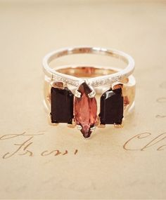 Anna Sheffield Attelage Tourmaline Ring with the Shield Ring Onyx