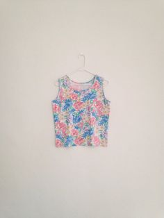 Vintage Crop Top - 1990s Floral Pastel Grunge Soft Cotton Tank Top Cropped Top
