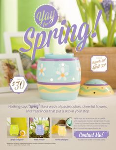 "Scentsy Spring Has Sprung! Celebrate the change in seasons ""Scentsy style"" with our Spring Bundle. It contains: 1 Easter Egg Premium Scentsy Warmer, and 3-pack of Scentsy Bars: 1 Jumpin' Jelly Bean Scentsy Bar 1 French Lavender Scentsy Bar 1 Coconut Lemongrass Scentsy Bar A $50 (U.S.) value, this limited-time offer is just $30 (U.S.), through April 30, 2014, or while supplies last."