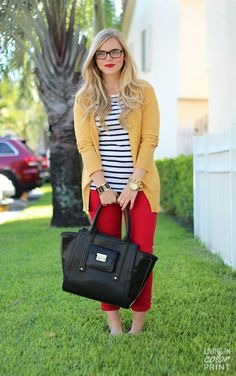 Red skinny + white-black stripe shirt + yellow cardigan.. Great work outfit!
