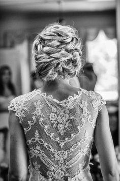 Wedding Hair, Stylist: It's a Date At The Powder Room - California Wedding http://caratsandcake.com/sarahandjeff