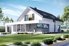 Amazing Villa Design in White Friendly Color 2 Home Building Design, Building A House, Villa Design, House Design, Pintura Exterior, Bungalow Renovation, Modern Mansion, European House, Bungalows