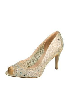 5213839be6ae This peep-toe pump takes a classic silhouette and kicks it up a notch with  sheer mesh and dazzling crystals. By De Blossom Collection Mesh upper