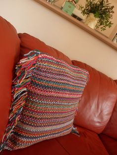 Cushion Cover by sharon maher - laughingpurplegoldfish, general directions on how she knit this pillow