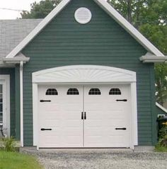 """Carriage House Style Vinyl Garage Door Decal Kit Faux Windows & Hardware Version 2 This will give your boring garage door instant curb appeal.  YOU ARE BUYING DECALS ONLY - WE ARE NOT SELLING WINDOWS, DOORS OR HARDWARE  This kit is designed for an average size single 5 panel 8 foot door. The photos are for reference only measure your panels to make sure this kit will fit.  Faux Decal Straps are 14"""" long  Faux Decal Handle is 9"""" tall Faux Decal Single panel window grouping is 14.75"""" x 7.7..."""