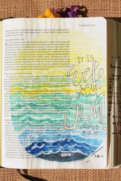 2 Kings 4:8-37, April 30, 2016, carol@belleauway.com, watercolor, Molowtow masking pen, Illustrated Faith pen, lettering inspired by IG christy_fae, bible art journaling, bible journaling, illustrated faith