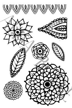 doodle flowers rubber stamp sheet