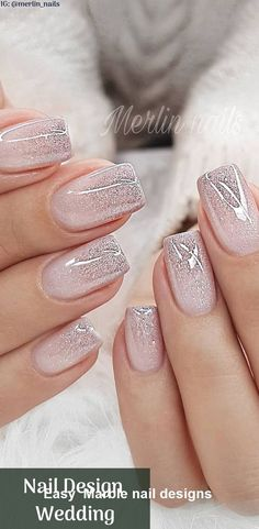 Nail Design Metalic For Wedding nails are an art expression to many brides nowad.,Nail Design Metalic For Wedding nails are an art expression to many brides nowad. Cute Acrylic Nails, Cute Nails, My Nails, Hair And Nails, Nails Today, Metallic Nails, Wedding Acrylic Nails, Marble Nail Designs, Nail Art Designs