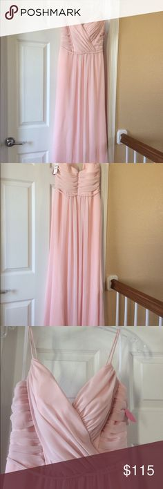 Jim hjelm dress in blush: draped v-neck a-line Brand new, never worn from Nordstrom's Bridal Suite. Size 8. Tags still attached. I usually wear a 2 or 4 to give you a sense of sizing. Ordered as a bridesmaid dress.  Picture of model wearing is sourced from Nordstrom. jim hjelm Dresses Maxi