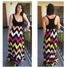 NEW Multi-Colored Chevron Maxi Dress / Size Large / Boutique Brand #Auditions #Maxi #Casual
