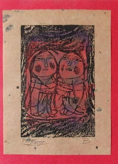 Japanese Woodblock Print. Siblings. Modern. by JapanesePrintsPlus