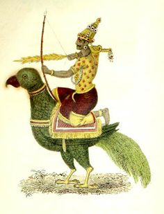 Kamadeva,  the handsome young Hindu God of Love, rides a green parrot. He shoots stinging arrows of desire from his bow made from sweet sugarcane, laced with a string of honey bees.