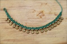 light blue and gold gypsy handmade micro macrame by yasminsjewelry