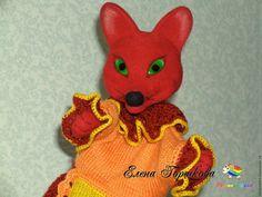 Купить Игрушка бибабо Лиса валяная для домашнего кукольного театра - ярко-красный, лиса, лисичка