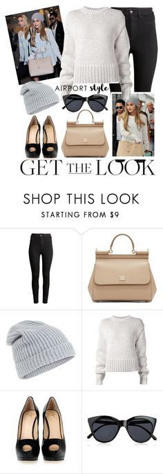 """Airport Style: Ariana Grande"" by may-calista ❤ liked on Polyvore featuring H&M, Dolce&Gabbana, Accessorize, Acne Studios, Giuseppe Zanotti, Le Specs, GetTheLook, ArianaGrande and airportstyle"